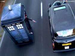 A TARDIS in hover mode