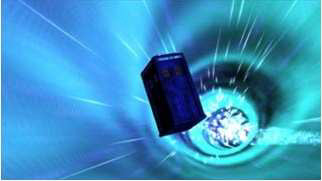 A TARDIS travelling through the vortex